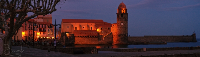 Collioure by night pano 01