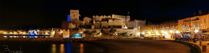 Collioure by night pano 02
