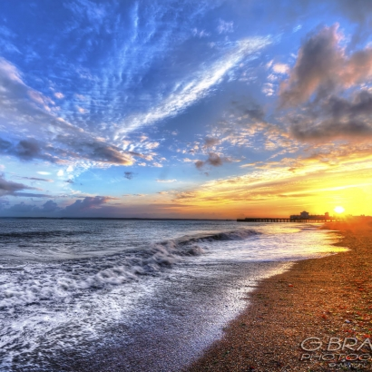 Sunset on Southsea Beach - Hampshire -UK
